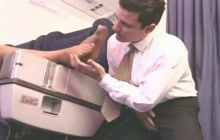 Feet licking in airplane