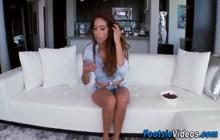 Latina gives footjob and gets feet cumshot