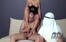 Busty Latex Mistresses With Their Arab Slaves