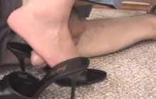 Footjob and dick trampling