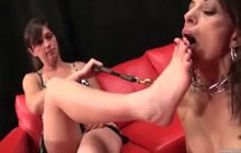 Lesbian Foot Worship and Domination with Painful Prong Collar