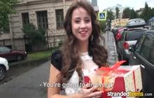 Brunette girl picked up on the street