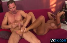 Cindy Hope giving footjob during sex