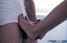 Hot blondes feet cumshot while riding