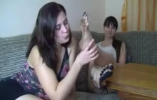 Slave licking dirty feet