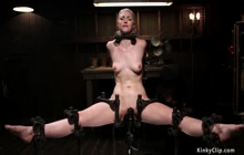 Shackled blonde gets pussy vibrated