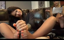 Cute babysitter gives an amazing footjob