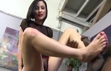 Veruca James interracial footjob and masturbation