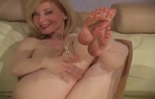 Nina Hartley teasing with her dirty but sexy feet