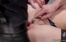 Slave in stockings fucked and cummed